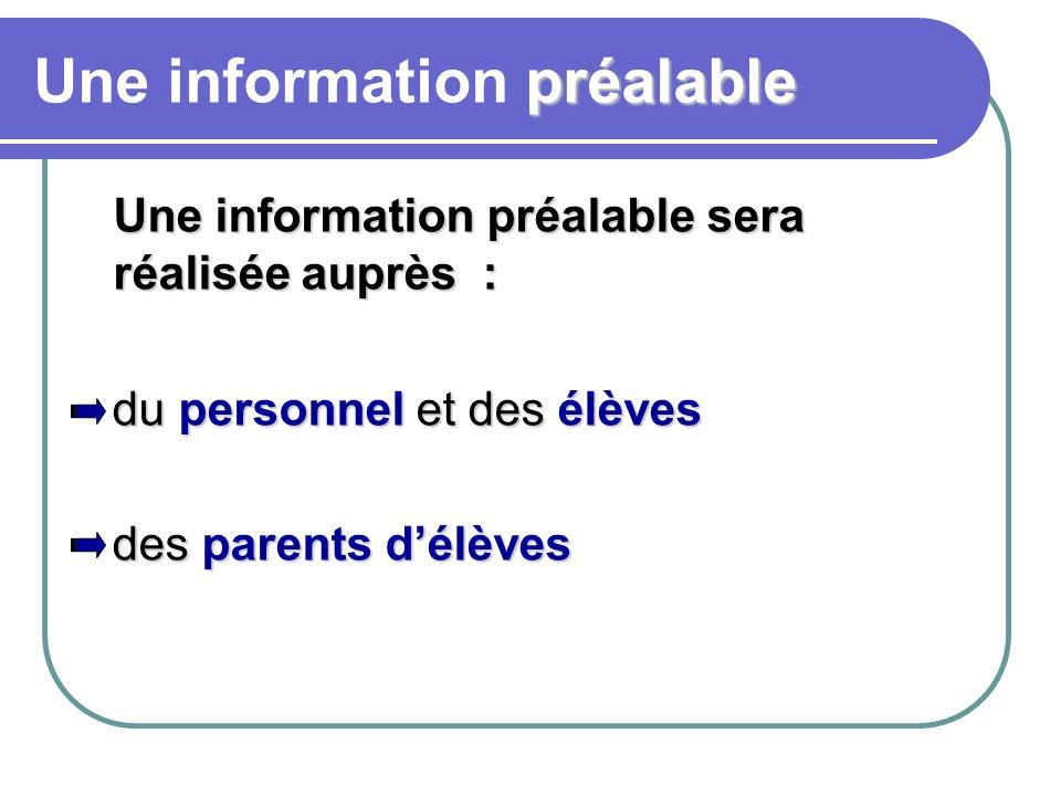 préalable Une information préalable Une information préalable sera réalisée auprès : du personnel et des élèves du personnel et des élèves des parents