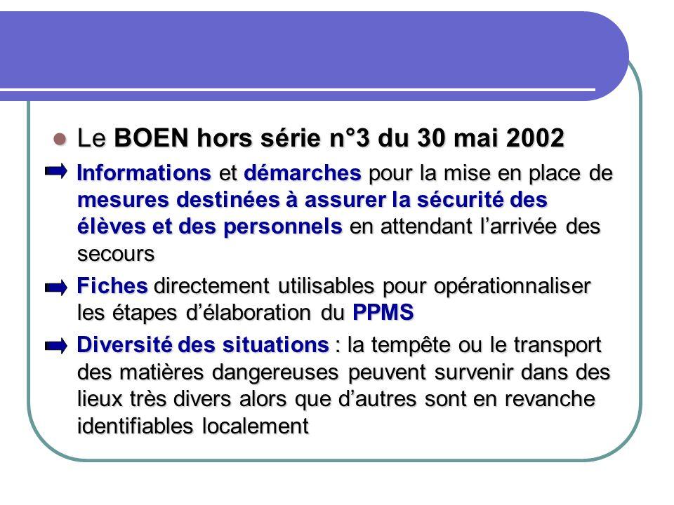 Le BOEN hors série n°3 du 30 mai 2002 Le BOEN hors série n°3 du 30 mai 2002 Informations et démarches pour la mise en place de mesures destinées à ass