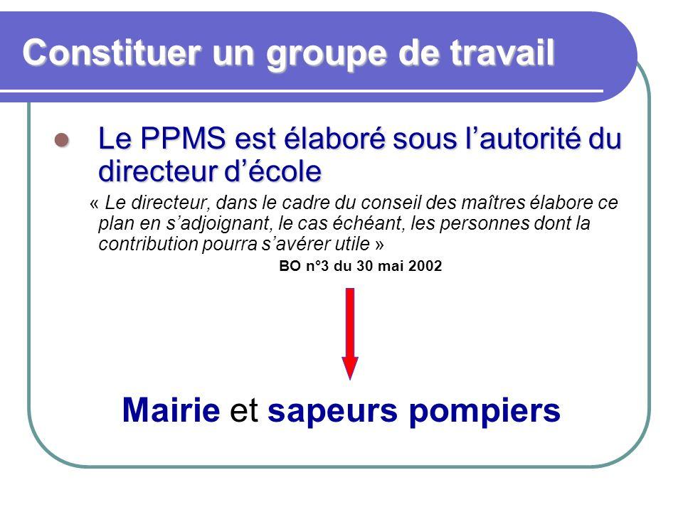 Constituer un groupe de travail Le PPMS est élaboré sous lautorité du directeur décole Le PPMS est élaboré sous lautorité du directeur décole « Le dir