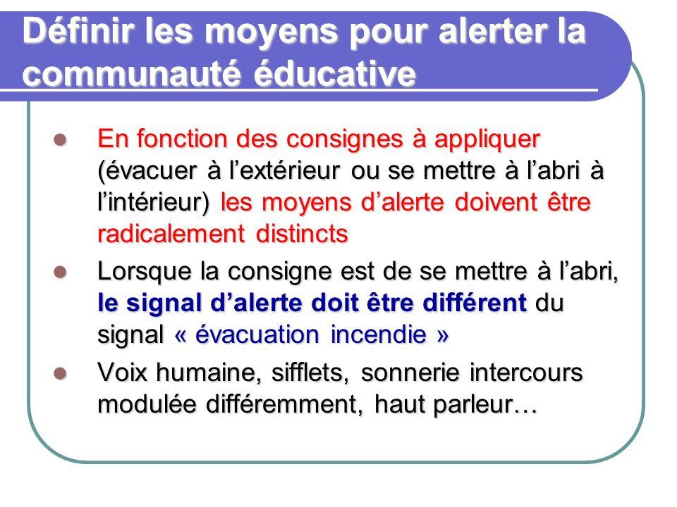 Définir les moyens pour alerter la communauté éducative En fonction des consignes à appliquer (évacuer à lextérieur ou se mettre à labri à lintérieur)