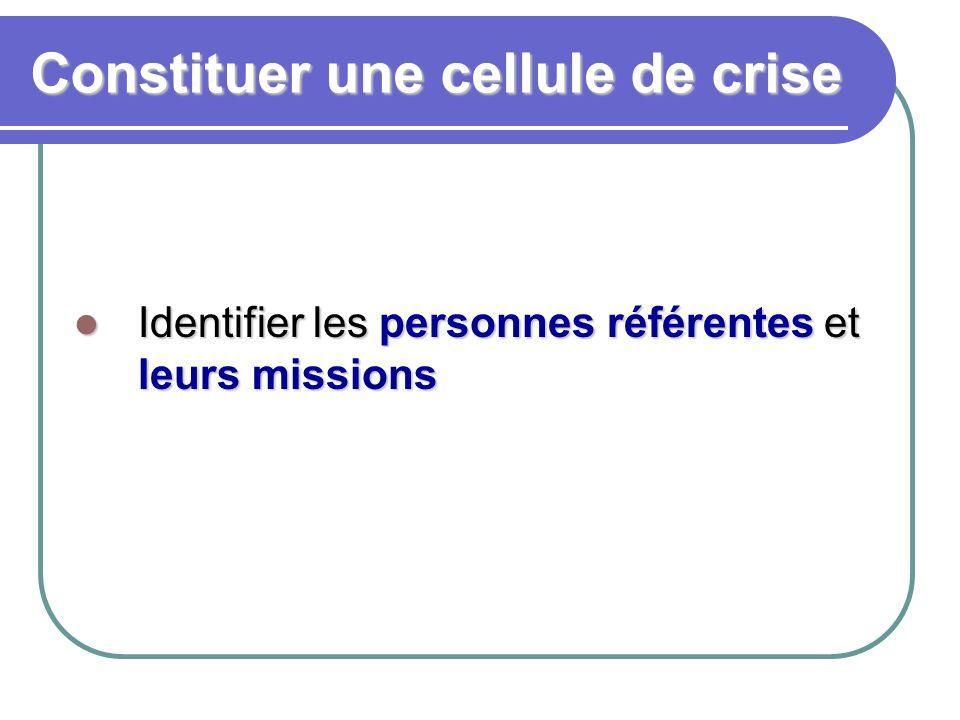 Constituer une cellule de crise Identifier les personnes référentes et leurs missions Identifier les personnes référentes et leurs missions