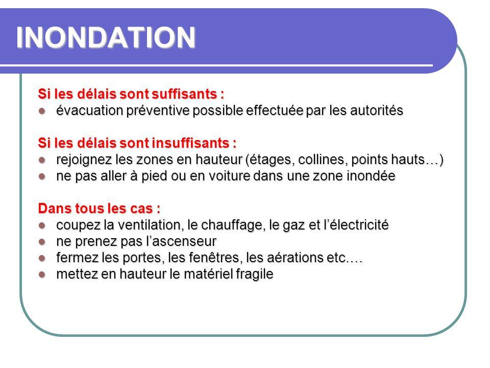 INONDATION Si les délais sont suffisants : évacuation préventive possible effectuée par les autorités évacuation préventive possible effectuée par les