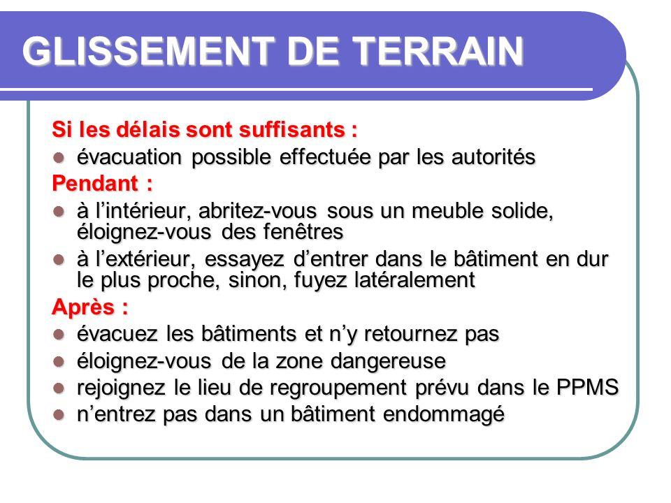 GLISSEMENT DE TERRAIN Si les délais sont suffisants : évacuation possible effectuée par les autorités évacuation possible effectuée par les autoritésP