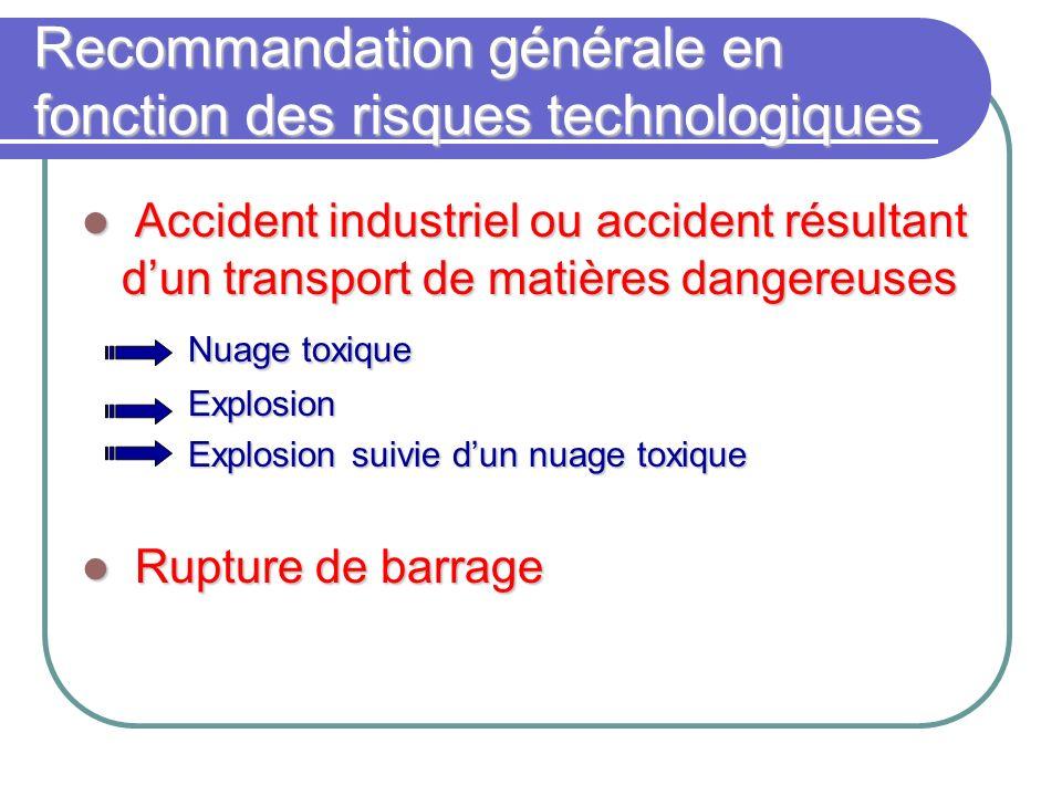 Recommandation générale en fonction des risques technologiques Accident industriel ou accident résultant dun transport de matières dangereuses Acciden