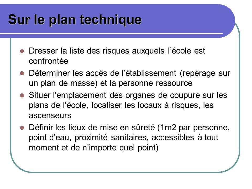 Sur le plan technique Dresser la liste des risques auxquels lécole est confrontée Déterminer les accès de létablissement (repérage sur un plan de mass