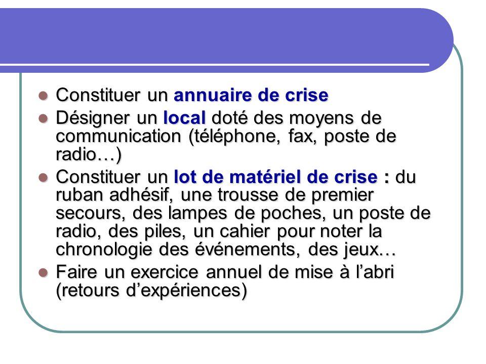 Constituer un annuaire de crise Constituer un annuaire de crise Désigner un local doté des moyens de communication (téléphone, fax, poste de radio…) D