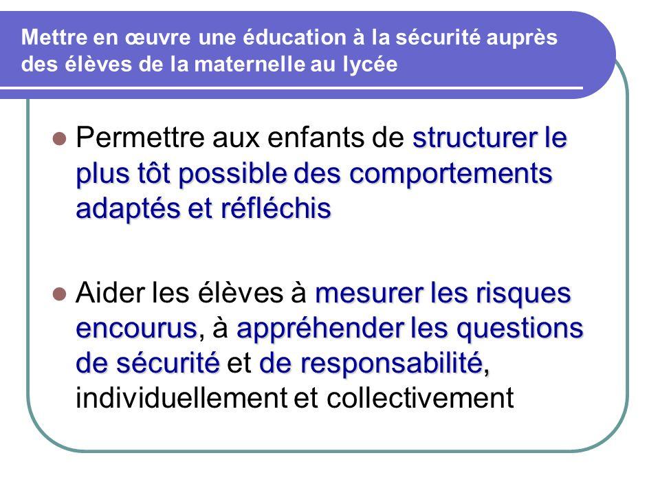 Mettre en œuvre une éducation à la sécurité auprès des élèves de la maternelle au lycée structurer le plus tôt possible des comportements adaptés et r