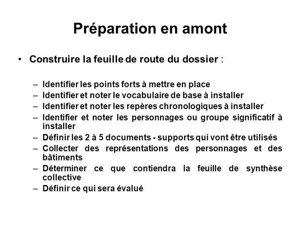 Préparation en amont Construire la feuille de route du dossier : –Identifier les points forts à mettre en place –Identifier et noter le vocabulaire de
