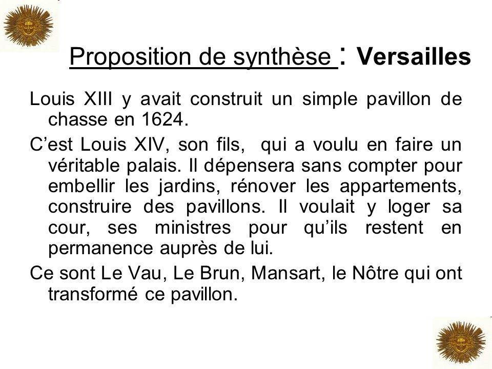 Proposition de synthèse : Versailles Louis XIII y avait construit un simple pavillon de chasse en 1624. Cest Louis XIV, son fils, qui a voulu en faire