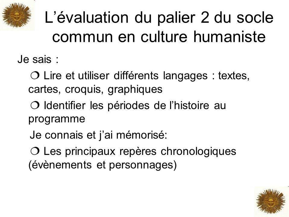 Lévaluation du palier 2 du socle commun en culture humaniste Je sais : Lire et utiliser différents langages : textes, cartes, croquis, graphiques Iden