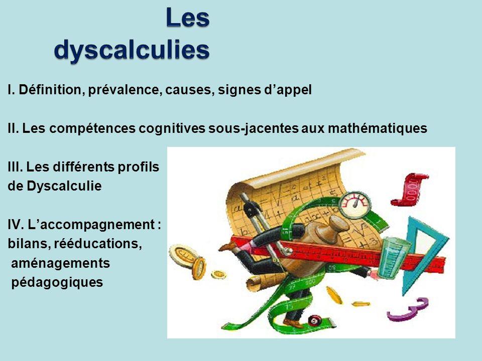 I. Définition, prévalence, causes, signes dappel II. Les compétences cognitives sous-jacentes aux mathématiques III. Les différents profils de Dyscalc