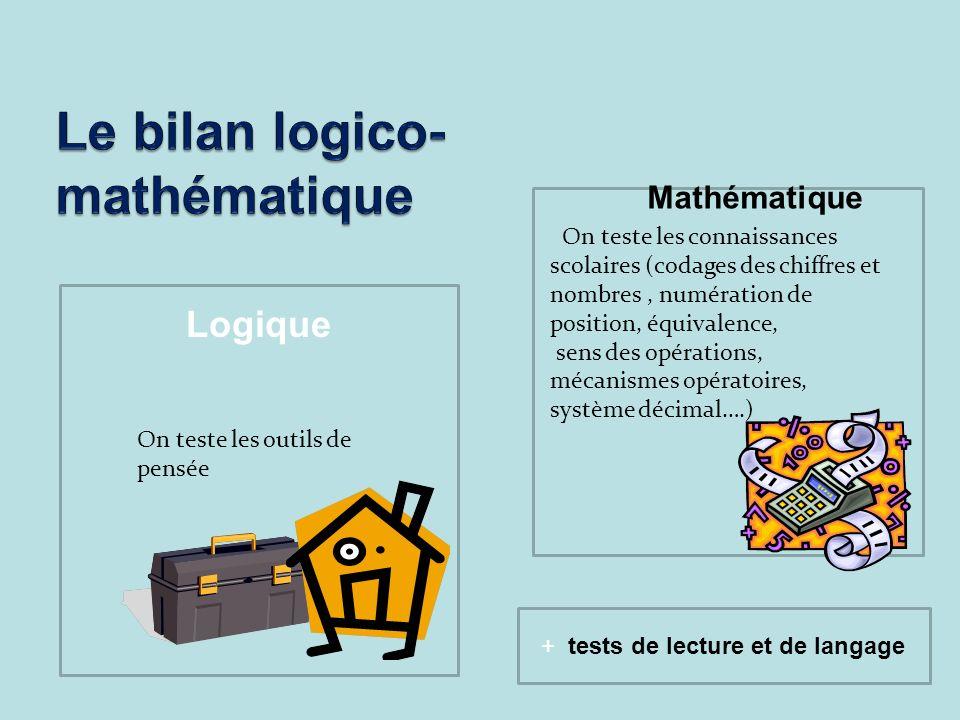 LOGIQUE Logique On teste les outils de pensée On teste les connaissances scolaires (codages des chiffres et nombres, numération de position, équivalen