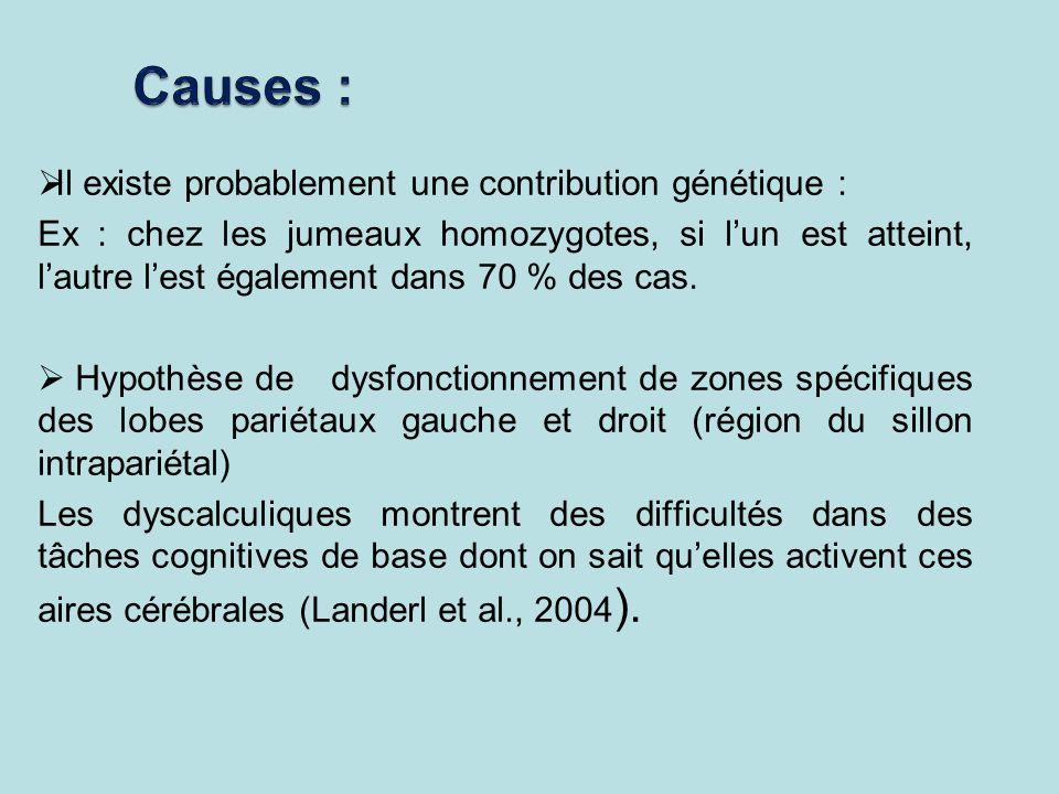 Il existe probablement une contribution génétique : Ex : chez les jumeaux homozygotes, si lun est atteint, lautre lest également dans 70 % des cas. Hy