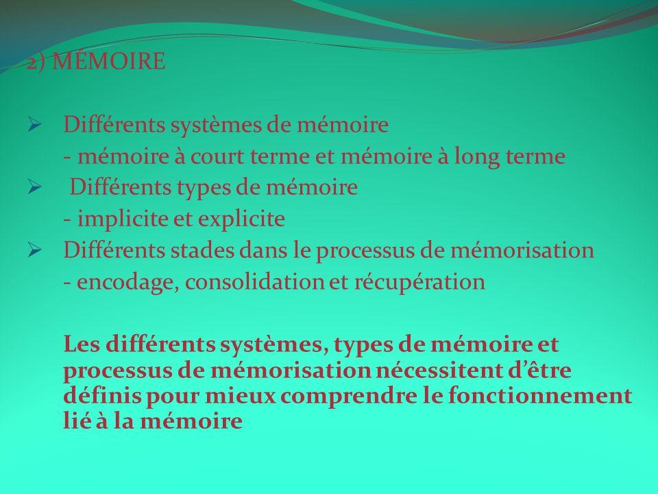 2) MÉMOIRE Différents systèmes de mémoire - mémoire à court terme et mémoire à long terme Différents types de mémoire - implicite et explicite Différe