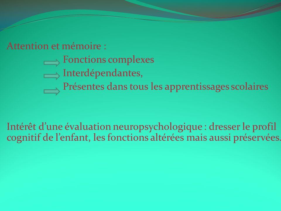Attention et mémoire : Fonctions complexes Interdépendantes, Présentes dans tous les apprentissages scolaires Intérêt dune évaluation neuropsychologiq