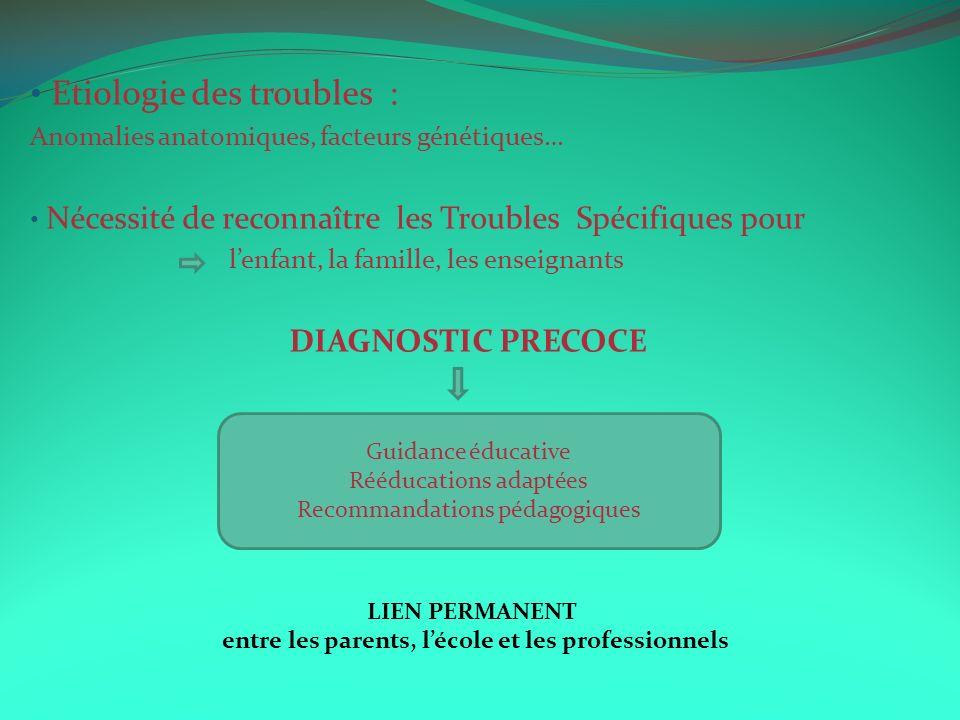 Etiologie des troubles : Anomalies anatomiques, facteurs génétiques… Nécessité de reconnaître les Troubles Spécifiques pour lenfant, la famille, les e