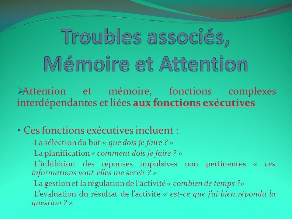 Attention et mémoire, fonctions complexes interdépendantes et liées aux fonctions exécutives Ces fonctions exécutives incluent : - La sélection du but