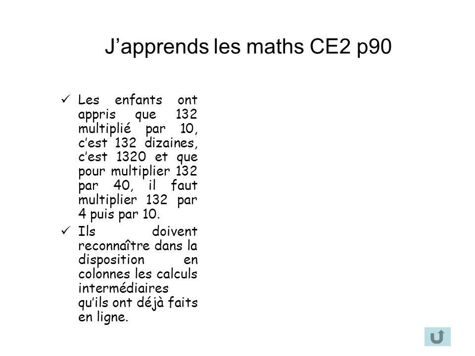 Japprends les maths CE2 p90 Les enfants ont appris que 132 multiplié par 10, cest 132 dizaines, cest 1320 et que pour multiplier 132 par 40, il faut m
