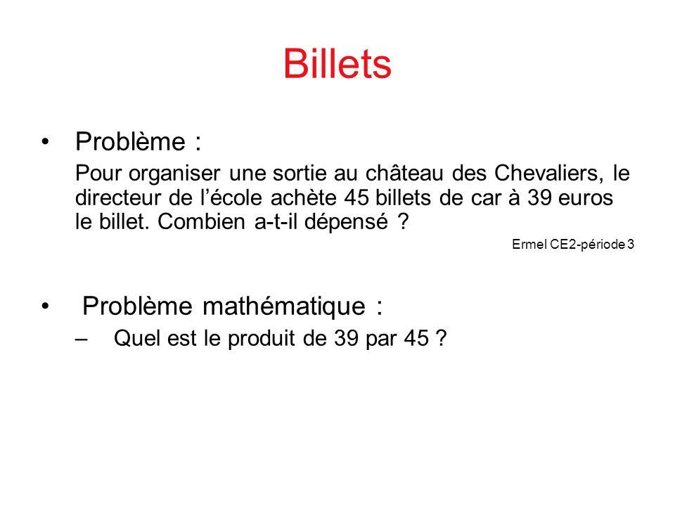 Billets Problème : Pour organiser une sortie au château des Chevaliers, le directeur de lécole achète 45 billets de car à 39 euros le billet. Combien