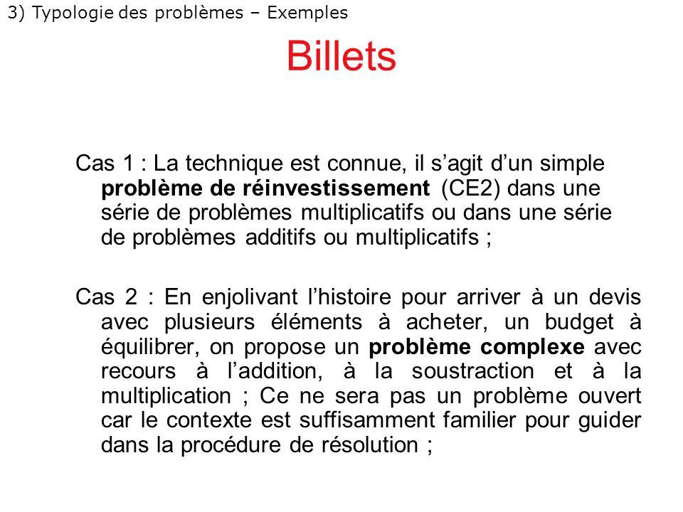 Billets Cas 1 : La technique est connue, il sagit dun simple problème de réinvestissement (CE2) dans une série de problèmes multiplicatifs ou dans une