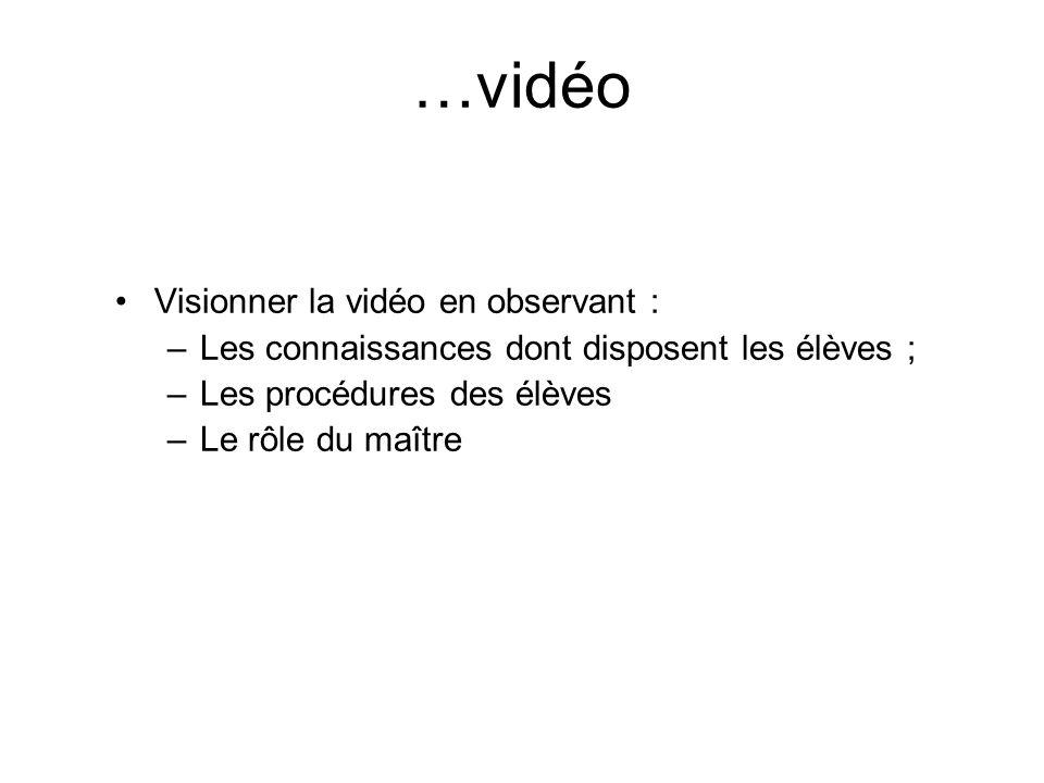 …vidéo Visionner la vidéo en observant : –Les connaissances dont disposent les élèves ; –Les procédures des élèves –Le rôle du maître