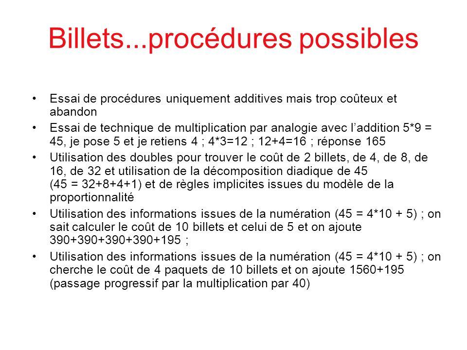 Billets...procédures possibles Essai de procédures uniquement additives mais trop coûteux et abandon Essai de technique de multiplication par analogie