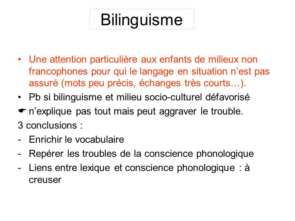 Bilinguisme Une attention particulière aux enfants de milieux non francophones pour qui le langage en situation nest pas assuré (mots peu précis, échanges très courts…).