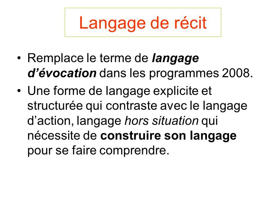 Langage de récit Remplace le terme de langage dévocation dans les programmes 2008.