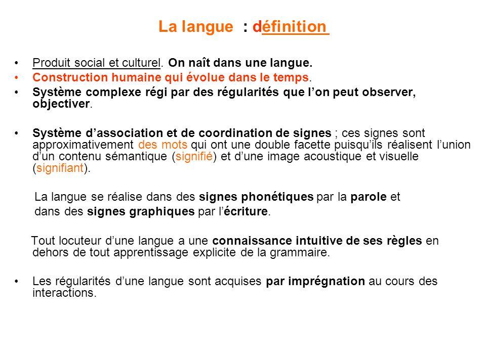 La langue : définition Produit social et culturel.