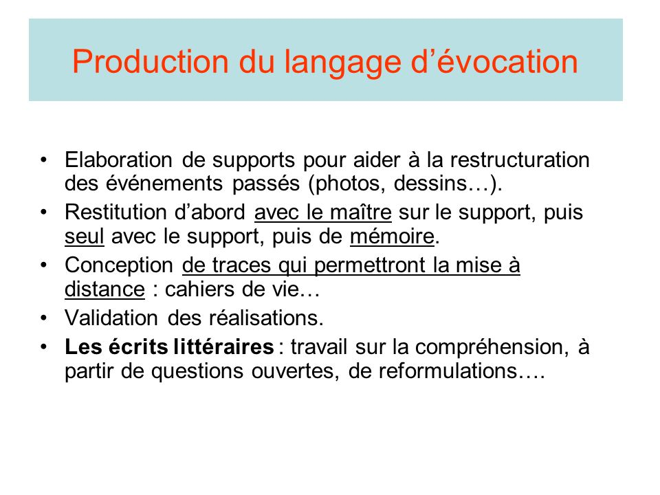 Production du langage dévocation Elaboration de supports pour aider à la restructuration des événements passés (photos, dessins…).