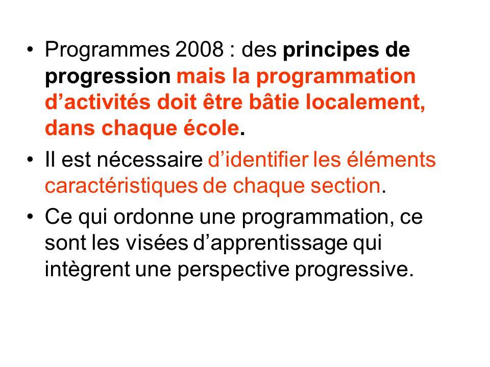 Programmes 2008 : des principes de progression mais la programmation dactivités doit être bâtie localement, dans chaque école.
