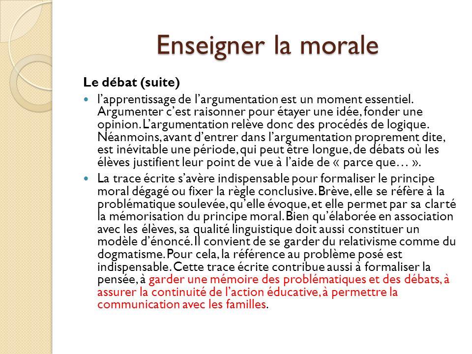 Enseigner la morale Propositions de thèmes 1.