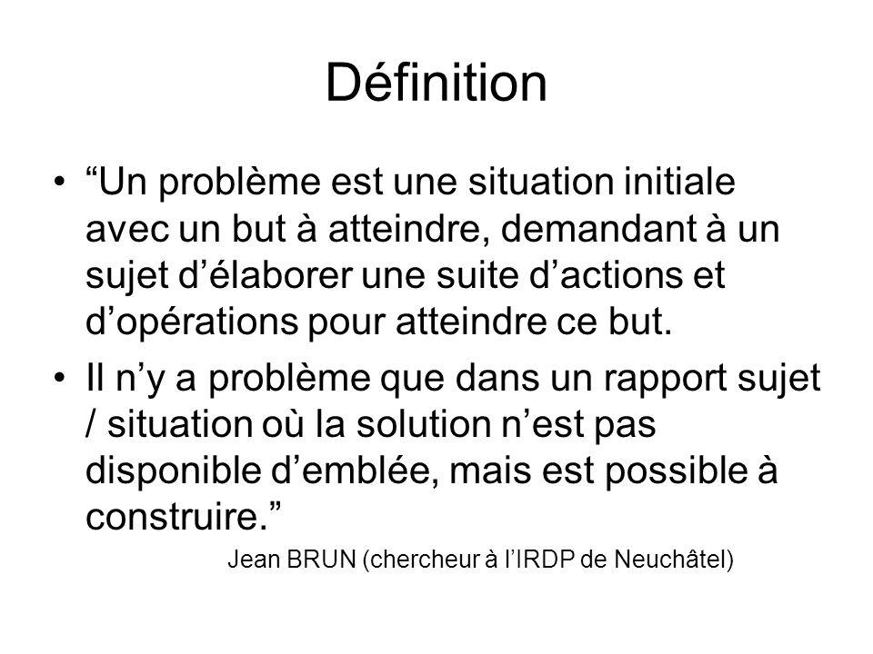 Définition Un problème est une situation initiale avec un but à atteindre, demandant à un sujet délaborer une suite dactions et dopérations pour attei