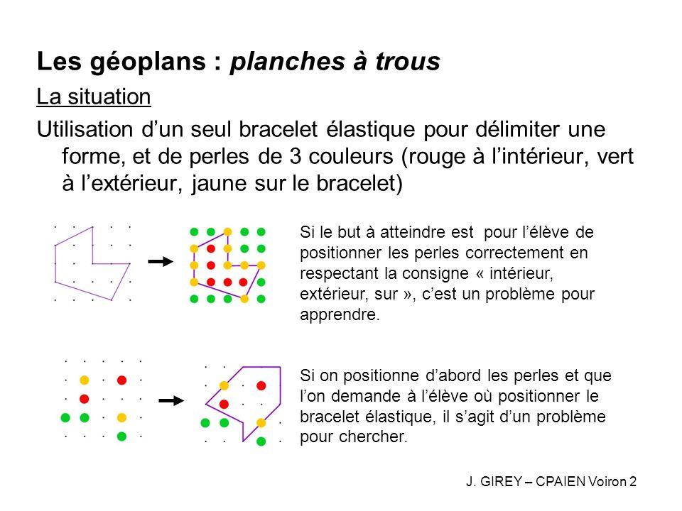 Les géoplans : planches à trous La situation Utilisation dun seul bracelet élastique pour délimiter une forme, et de perles de 3 couleurs (rouge à lin