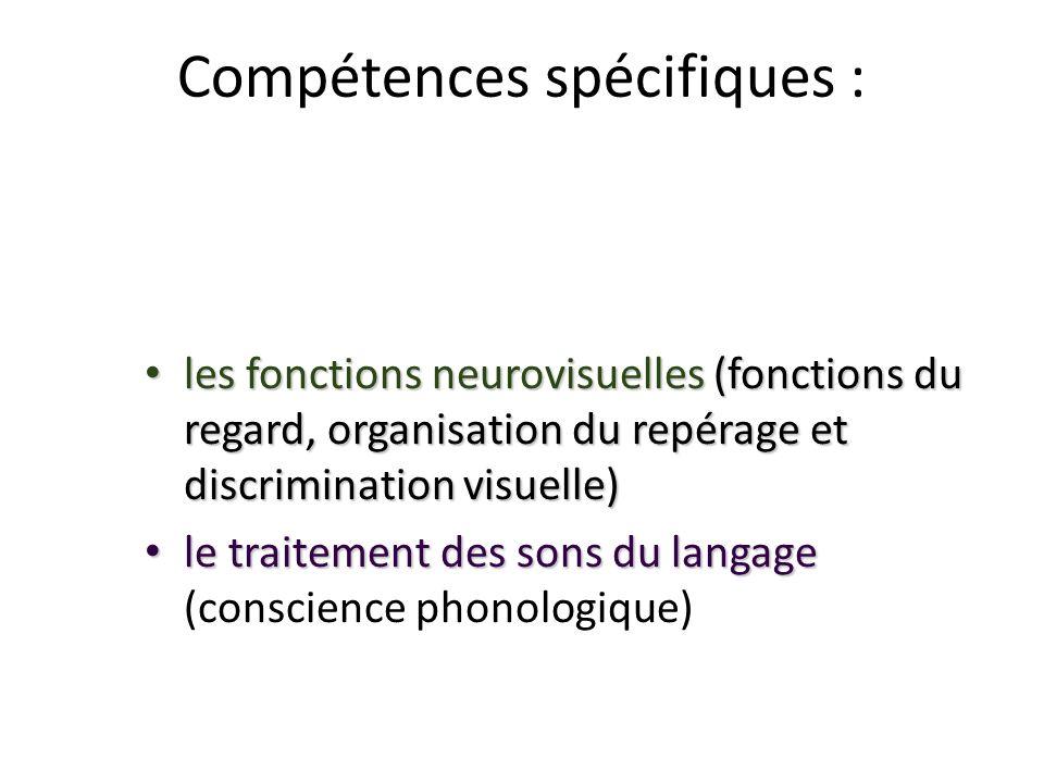Compétences spécifiques : les fonctions neurovisuelles (fonctions du regard, organisation du repérage et discrimination visuelle) les fonctions neurov