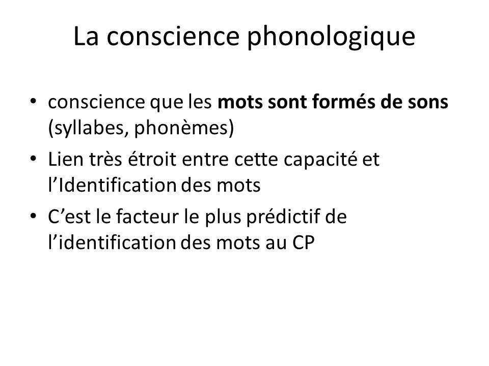 La conscience phonologique conscience que les mots sont formés de sons (syllabes, phonèmes) Lien très étroit entre cette capacité et lIdentification d