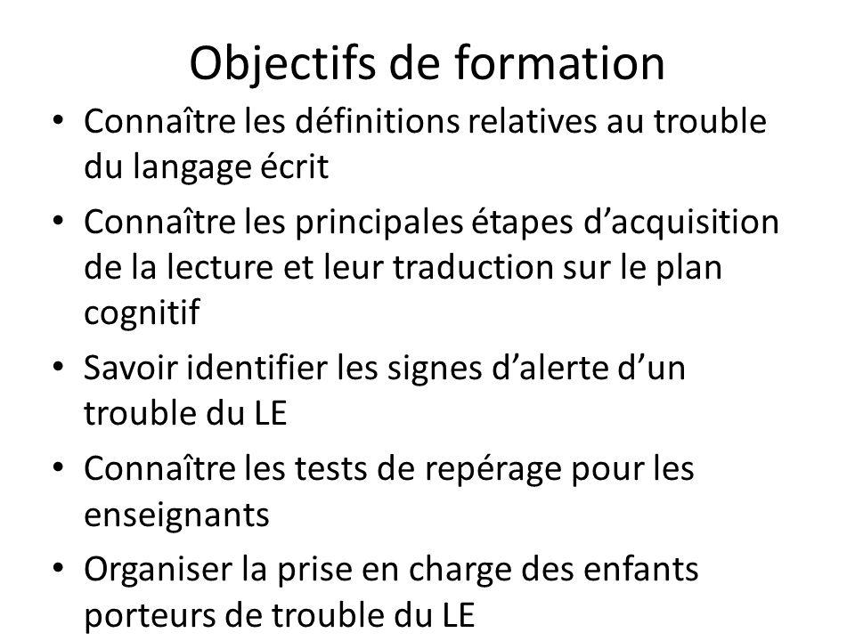 Objectifs de formation Connaître les définitions relatives au trouble du langage écrit Connaître les principales étapes dacquisition de la lecture et