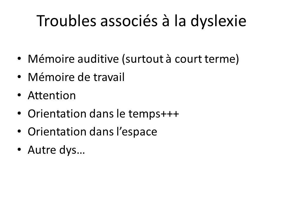 Troubles associés à la dyslexie Mémoire auditive (surtout à court terme) Mémoire de travail Attention Orientation dans le temps+++ Orientation dans le