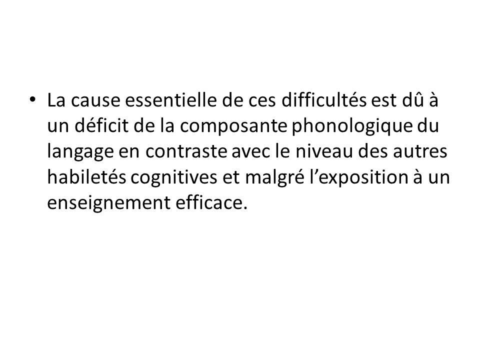 La cause essentielle de ces difficultés est dû à un déficit de la composante phonologique du langage en contraste avec le niveau des autres habiletés