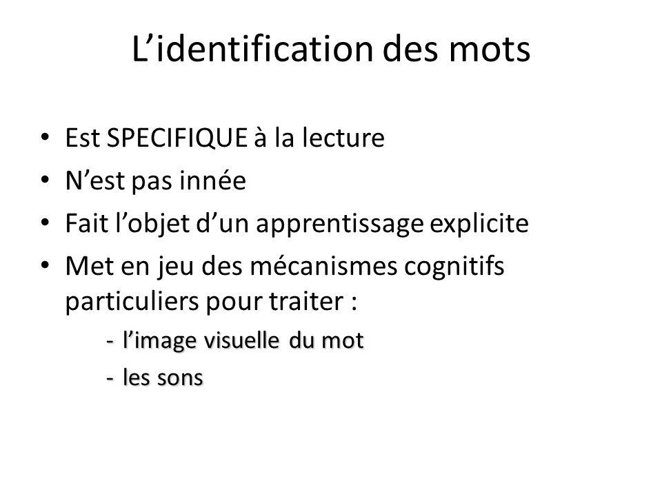 Lidentification des mots Est SPECIFIQUE à la lecture Nest pas innée Fait lobjet dun apprentissage explicite Met en jeu des mécanismes cognitifs partic