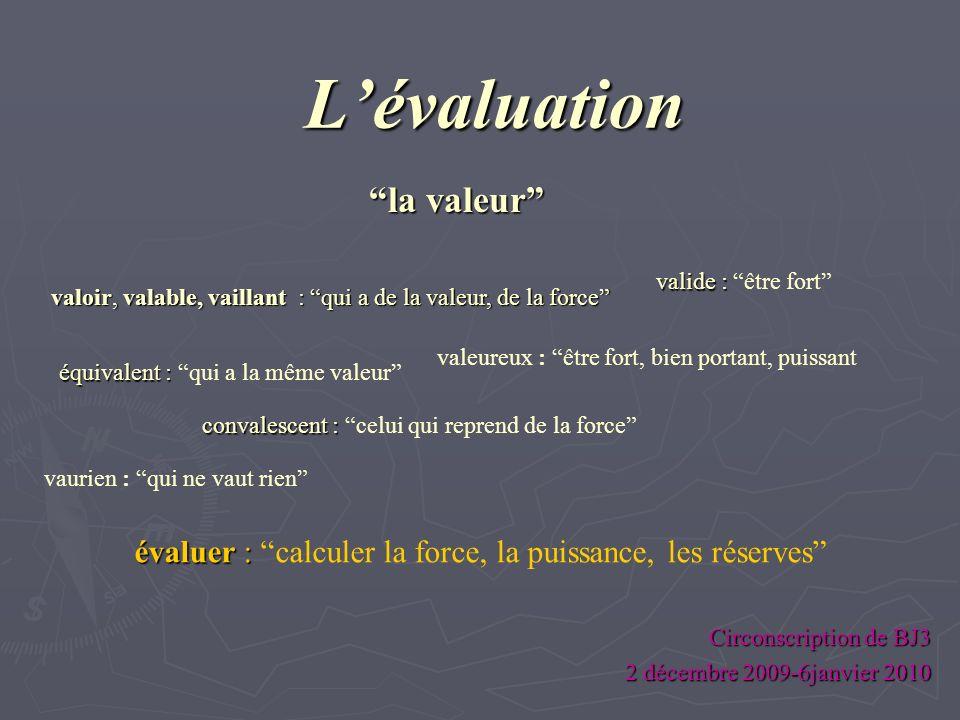 Lévaluation Circonscription de BJ3 2 décembre 2009-6janvier 2010 valoir, valable, vaillant : : : : qui a de la valeur, de la force vaurien : qui ne va