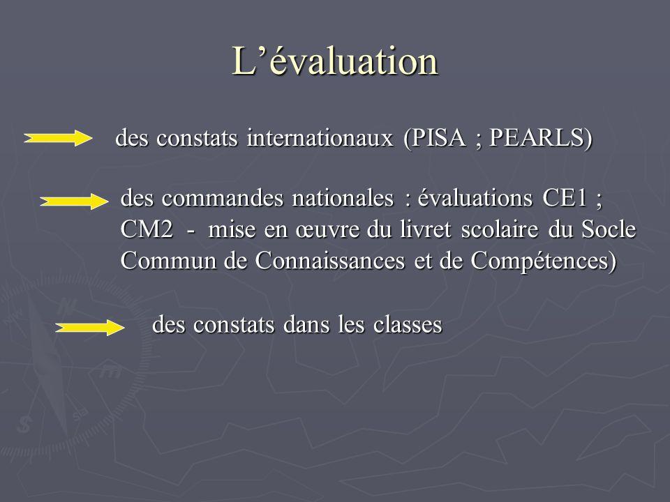 Lévaluation des constats internationaux (PISA ; PEARLS) des commandes nationales : évaluations CE1 ; CM2 - mise en œuvre du livret scolaire du Socle Commun de Connaissances et de Compétences) des constats dans les classes