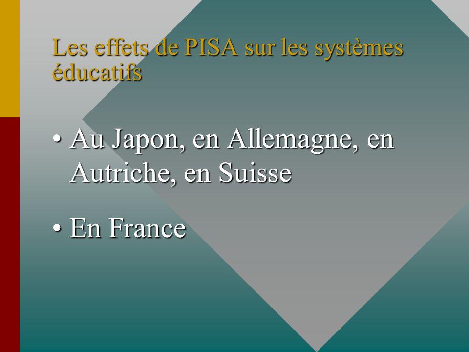 Les effets de PISA sur les systèmes éducatifs Au Japon, en Allemagne, en Autriche, en SuisseAu Japon, en Allemagne, en Autriche, en Suisse En FranceEn