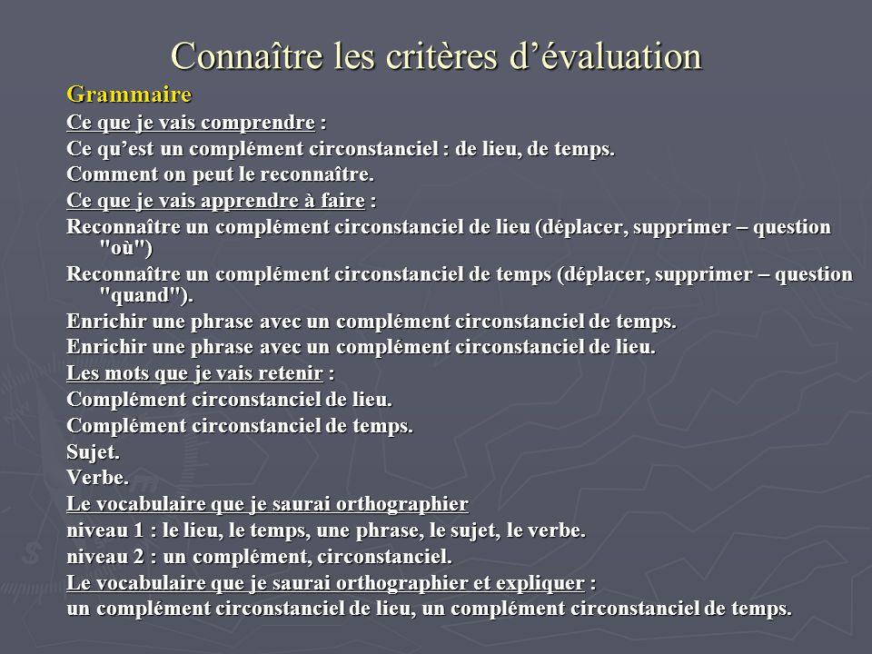 Connaître les critères dévaluation Grammaire Ce que je vais comprendre : Ce quest un complément circonstanciel : de lieu, de temps.