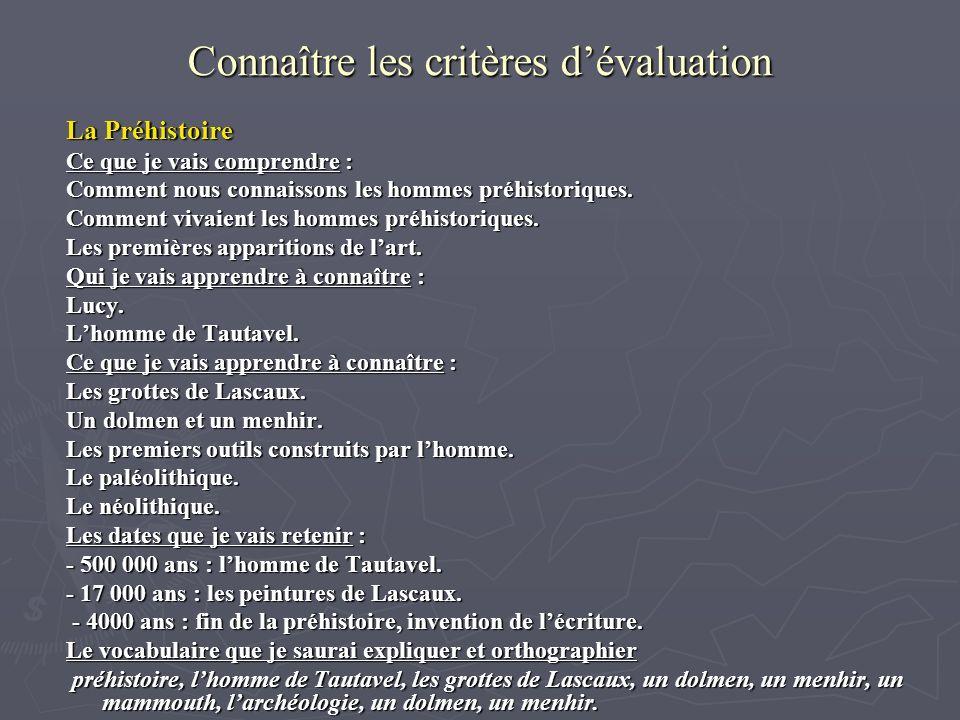 Connaître les critères dévaluation La Préhistoire Ce que je vais comprendre : Comment nous connaissons les hommes préhistoriques. Comment vivaient les