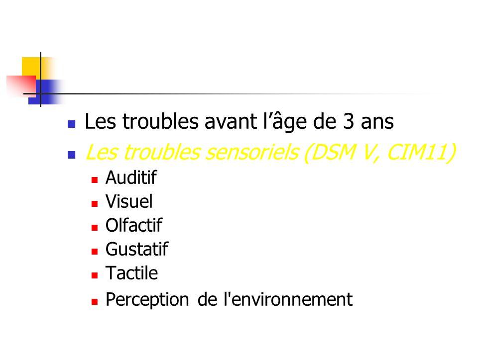 Les troubles avant lâge de 3 ans Les troubles sensoriels (DSM V, CIM11) Auditif Visuel Olfactif Gustatif Tactile Perception de l'environnement
