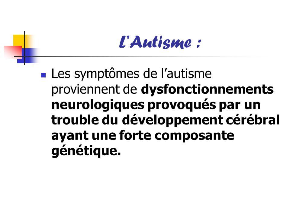 LAutisme : Les symptômes de lautisme proviennent de dysfonctionnements neurologiques provoqués par un trouble du développement cérébral ayant une fort