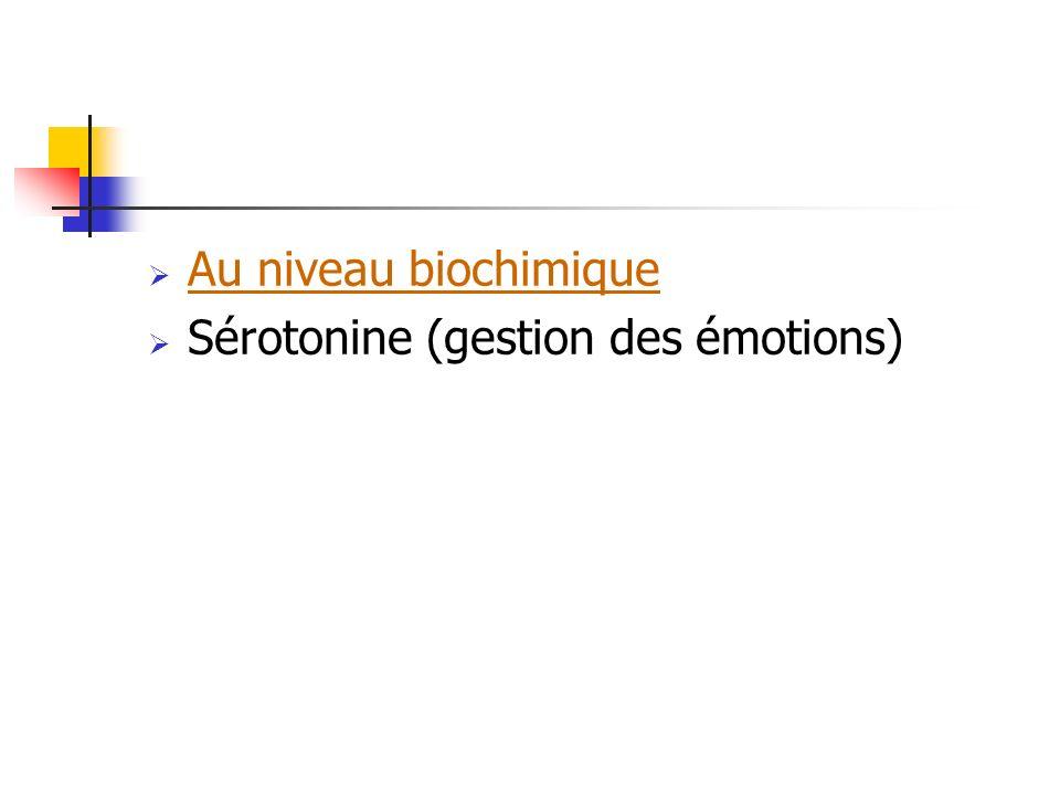Au niveau biochimique Sérotonine (gestion des émotions)