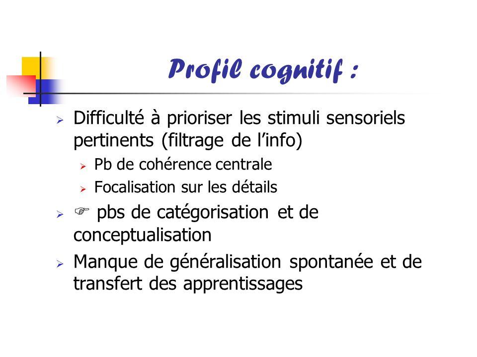 Profil cognitif : Difficulté à prioriser les stimuli sensoriels pertinents (filtrage de linfo) Pb de cohérence centrale Focalisation sur les détails p
