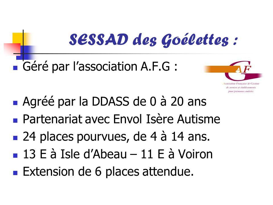 SESSAD des Goélettes : Géré par lassociation A.F.G : Agréé par la DDASS de 0 à 20 ans Partenariat avec Envol Isère Autisme 24 places pourvues, de 4 à